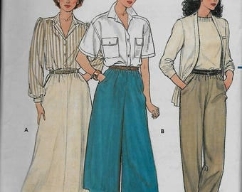Butterick  3027       Misses  Skirt, Culottes and Pants    C1984       Size 14,16,18   Uncut