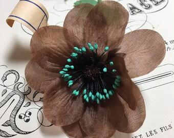Brown and teal vintage millinery flower