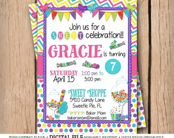 Sweet Cupcakes & Candy Birthday Party - Printable - Bright Colors