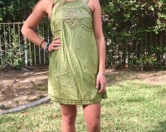 Green BoHo dress, copper ,metal beading, small,summer dress