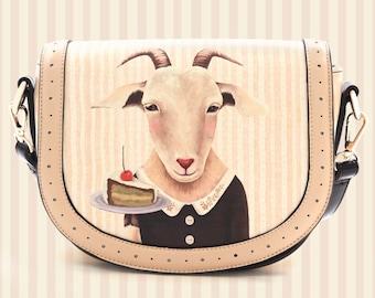 Cutie Little Goat with cake handbag