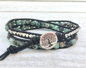 Leather Bracelet, Leather Wrap Bracelet, African Turquoise Bracelet, Two Leather Wrap Bracelet, Women's Jewelry