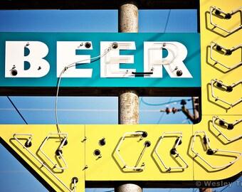 Neon Beer Sign - Liquor Store Neon Photograph