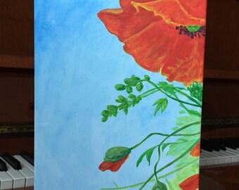 Poppy Tender Love Red Hot Summer Flower Art  Acrilic Painting  wall decor Original