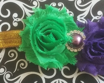 Simple Mardi Gras Headband, Mardi Gras Accessory, Mardi Gras Tutu Dress, Mardi Gras Dress, Purple Green Gold Headband, Purple Headband