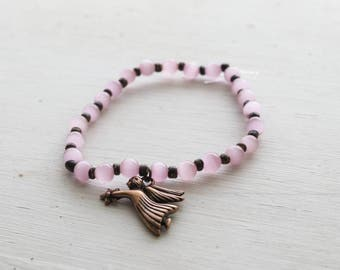 Pink Glass Beaded Stretch Bracelet with Lucky Angel Charm