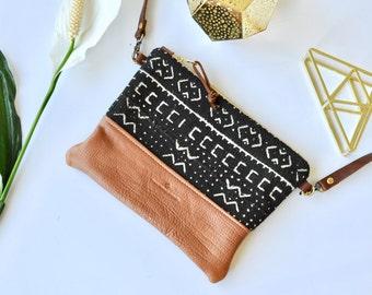 Tan Leather Purse - Boho Clutch - Leather Crossbody Bag - Mudcloth - Handmade in Australia - Sling Bag