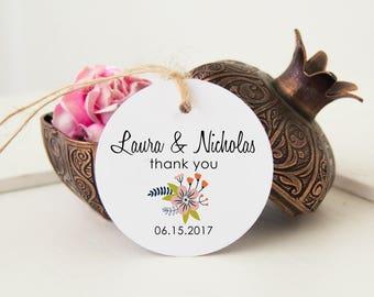 Favor Gift Bag Tags, Thank You Wedding Tags, Wedding Favor Tags, Wedding Bag Tags, 24 Personalized Favor Bag Tags