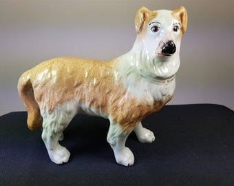Antique Staffordshire Dog Figurine 1880's English Ceramic Pottery Victorian