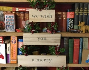 "Christmas Decorative Wall Hanging ""We wish you a Merry Christmas"" with lights"