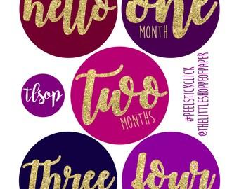 Girl Month Stickers Gem Tones Glitter