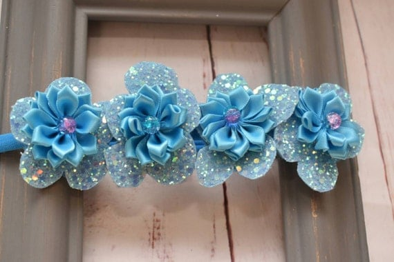 Frozen inspired ice blue glittery  floral hairband - Baby / Toddler / Girls / Kids Elastic Flower Crown / Hairband / Headband / photo prop