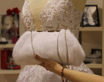 Fur Bag, White fur bag, White bag mink, Mink bag, Luxury bags, French Bag, evening bags