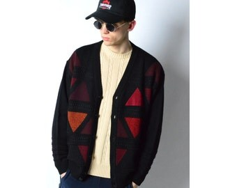 Vintage 90s Black Color Block Wool Knit Cardigan 27_120217_M