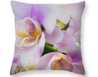 White Pink Floral Throw Pillow Nature Outdoor Seat Cushion  Home Décor or Indoor Accent Pillow , Pillow Cover