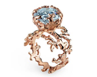 CORAL Blue Topaz Engagement Ring, Rose Gold Blue Topaz Ring, Statement Ring, Rose Gold Ring, Rose Gold Engagement Ring
