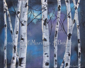 ACRYLIC PAINTING ORIGINAL; Canadian art, wall art, 11 x 14 inches, wrap around canvas, birch trees, moonlight, denim canvas, nature