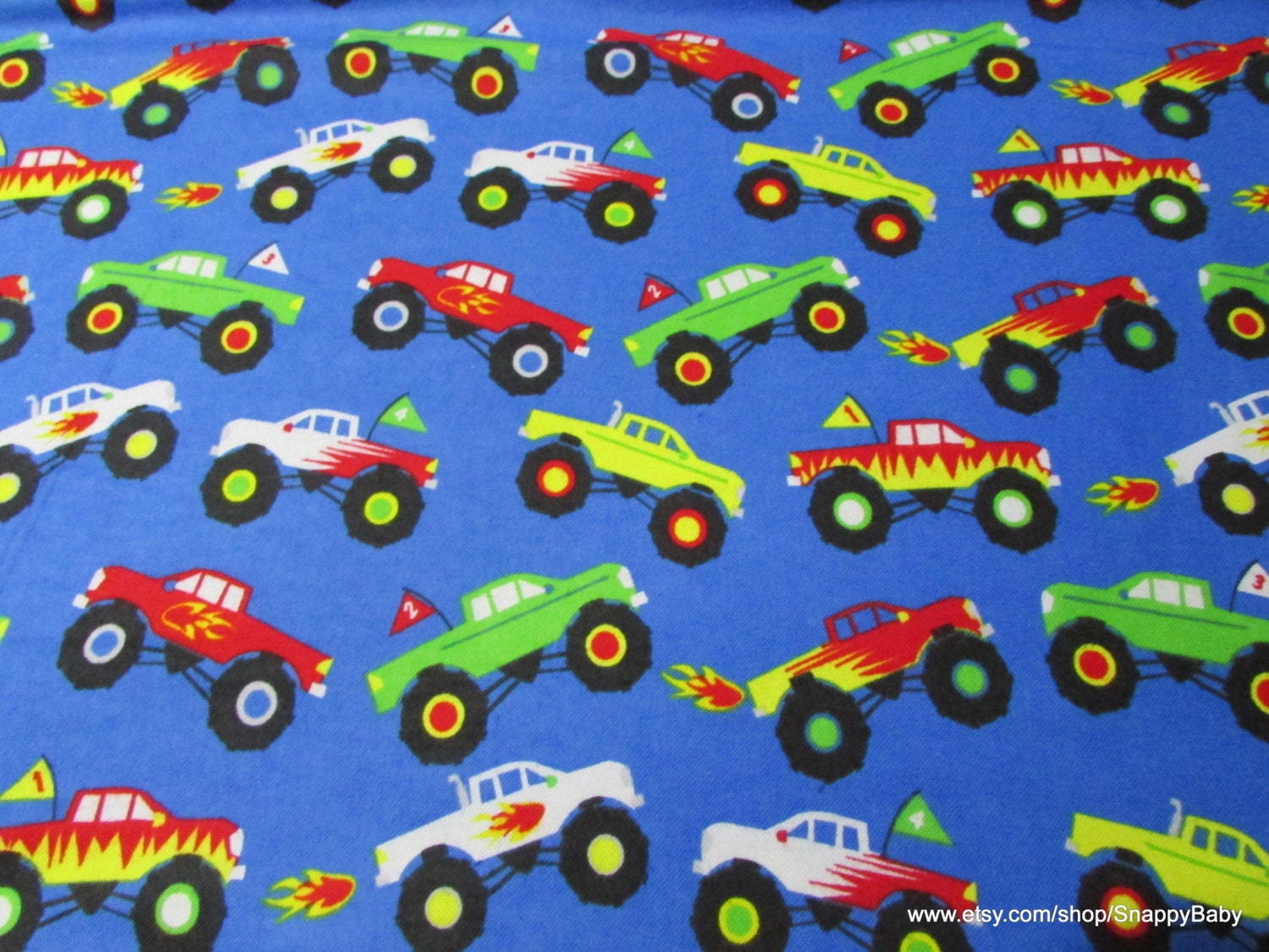 flannel fabric monster trucks by the yard 100 cotton