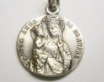 Sainte  Anne De Beaupre Reversible Pendant Charm. Sterling Silver Marked FRANCE Catholic Medal Saint St, Anne De Beaupre Basilica on back