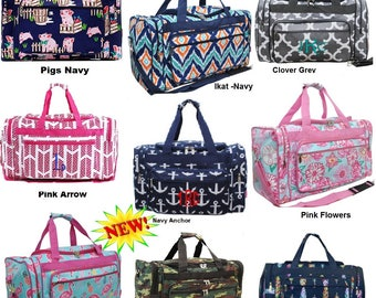 Personalized extra large Duffle bags 23 inch in many vibrant new styles. Perfect for overnights, camping, traveling,students