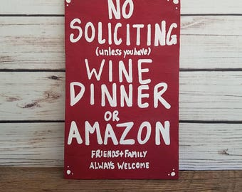 No soliciting sign, funny No solicitation, Do not knock, Door sign, Door Hanger, New mom gift,Wine Gift, housewarming gift, best friend gift