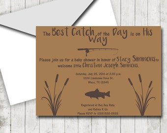 fishing theme diy baby shower invitation outdoors theme invites printable best catch theme