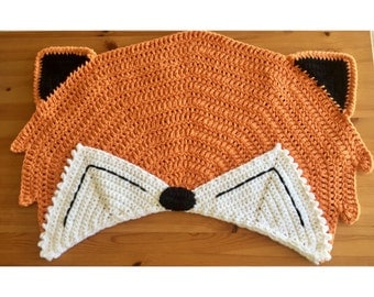 Fox Rug Nursery Decor, Crochet Tummy Time Mat