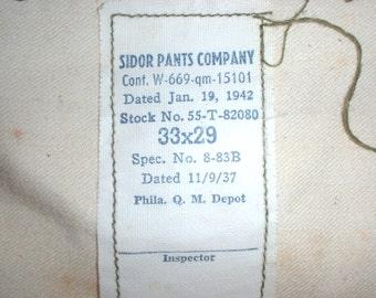 US Army WWII all-wool OD service trousers 33X29 Sidor, 19 Jan 1942 fair shape