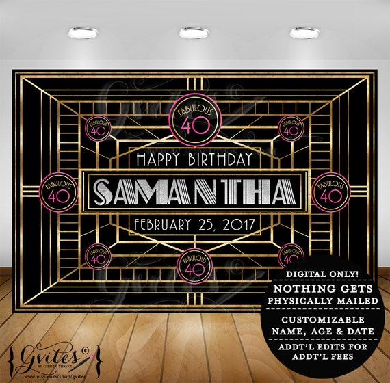 Gatsby theme backdrop, 40th birthday the great gatsby theme party banner signs, poster, backdrops, photobooth photo booth, 1920s party.