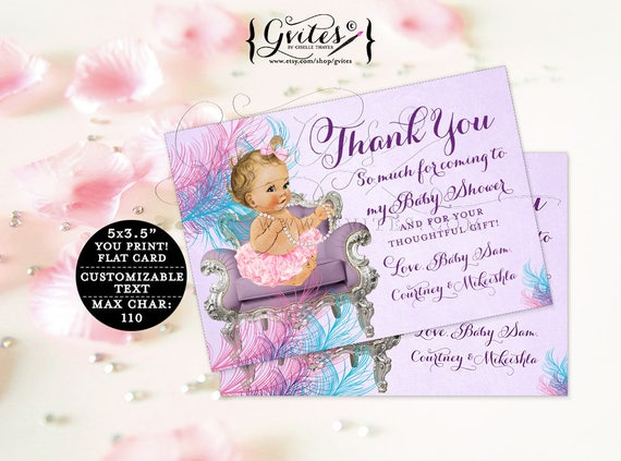 "Thank You Cards baby shower ribbons bows, purple teal pink, lavender diamonds pearls, baby girl, flat customizable. {5x3.5"" 4 Per/Sheet}"