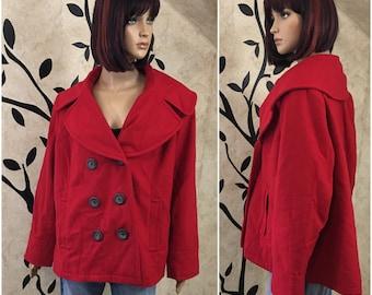 Red wool coat, Red Pea coat, Warm coat, Winter coat, Plus size coat, Fancy coat, Pea coat, Wool coat