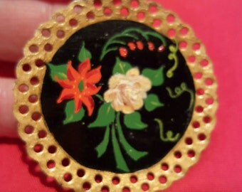 Vintage Hand Painted Tole Mini Tray Circular Flower Brooch From the 1950's