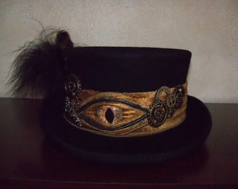 Steampunk Top Hat, Top Hat with Eye, Black Top Hat, Victorian Top Hat, Wool Top Hat