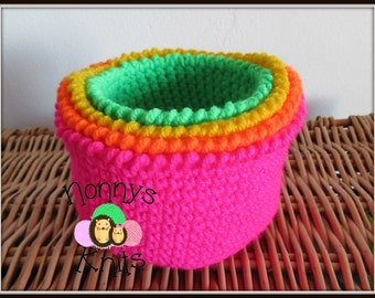 Cute little nest of crochet baskets