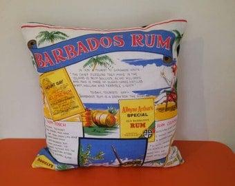 Handmade Barbados Rum cushion cover.