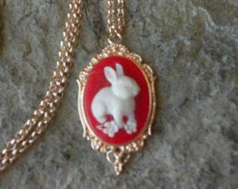 Bunny Rabbit Cameo Rose Gold Tone Copper Pendant Necklace - Unique - Easter - Bunny Lover Gift