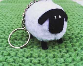 Little Sheep Hand Knitted Keyring