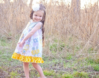 Girls Dresses - Yolk Dress - Dress with Ruffle - Spring Dress - Summer Dress - Sun Dress - Toddler Dress - Boutique Dress - Birthday Dress