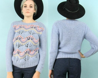 80s Loose Knit Periwinkle Sweater, Vintage Pastel Pullover, Size Small Medium, Baby Blue, Soft, Retro, Hipster, Pink, Yellow, Purple