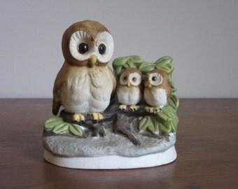 Vintage UCGC Korea Owl and Owlets Figurine, Chalkware Porcelain Ceramic Owls,Mother & Babies,Vintage Owls,Chalk Ware Owls,Retro Ceramic Owls