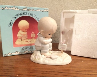 "Precious Moments - #PM872 -""In His Time"" Boy Planting 1987 Members Only"