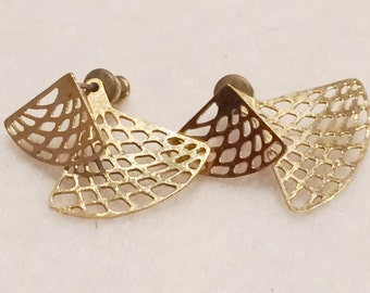 Vintage Double Fan Gold Tone Pierced Earrings