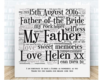 Father of the Bride Wedding Message Ceramic  Plaque.  Wedding Thank You Gift. Personalised