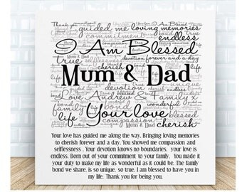 Personalised Mum & Dad Poem Word Art Plaque - Blessed