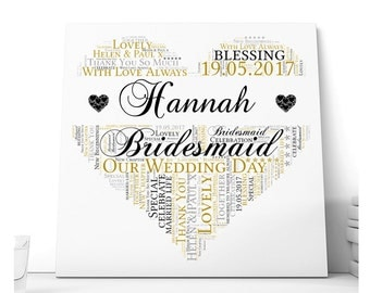 Bridesmaid, Maid of Honour, Chief Bridesmaid Heart Design Ceramic Plaque. Wedding Thank You Gift. Personalised