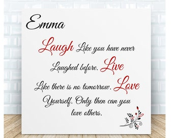 Laugh Live Love Message Ceramic Plaque.  Personalised