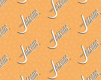Jetsons Fabric Jetsons Logo in Orange From Camelot 100% Cotton
