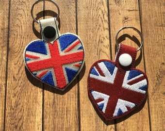 Union Jack - United Kingdom - UK - Flag Heart - Key Fob DESIGN-  Digital Embroidery Design