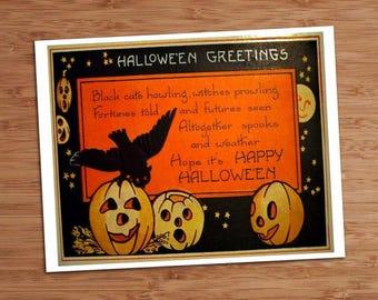 Halloween Greetings Crow Vintage Art Print 8x10 5x7 Inch Printable Gift Wall Poster Decor Digital Image DIY pdf jpg jpeg INSTANT Download