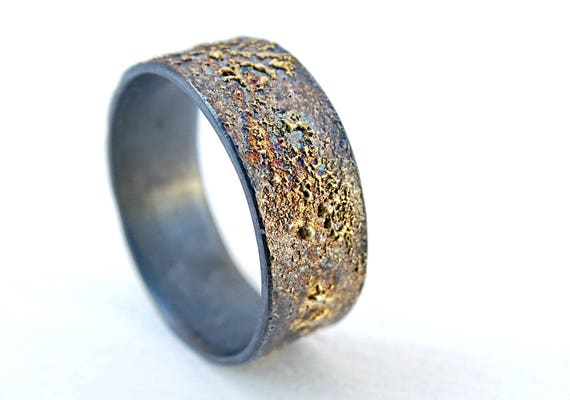 mens wedding band molten gold silver unique mens ring gold